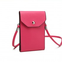 E1806- Women PU Leather Slim Mobile Cross Body Bag  plum