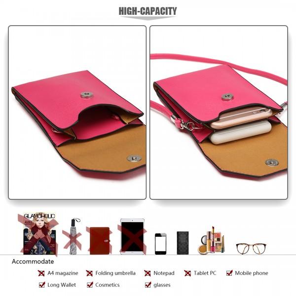 E1806-Bolso de cuero del teléfono móvil de la PU de las mujeres bolso de la cruz del bolso del cuerpo pequeño ciruelo