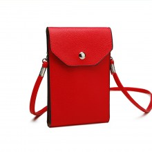 E1806- Women PU Leather Slim Mobile Cross Body Bag  red