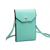 E1806- Women PU Leather Slim Mobile Cross Body Bag  teal