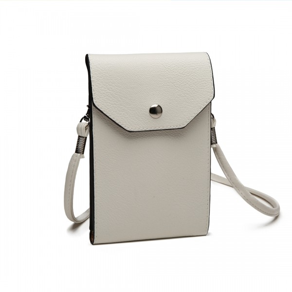 E1806- Women PU Leather Slim Mobile Cross Body Bag  white