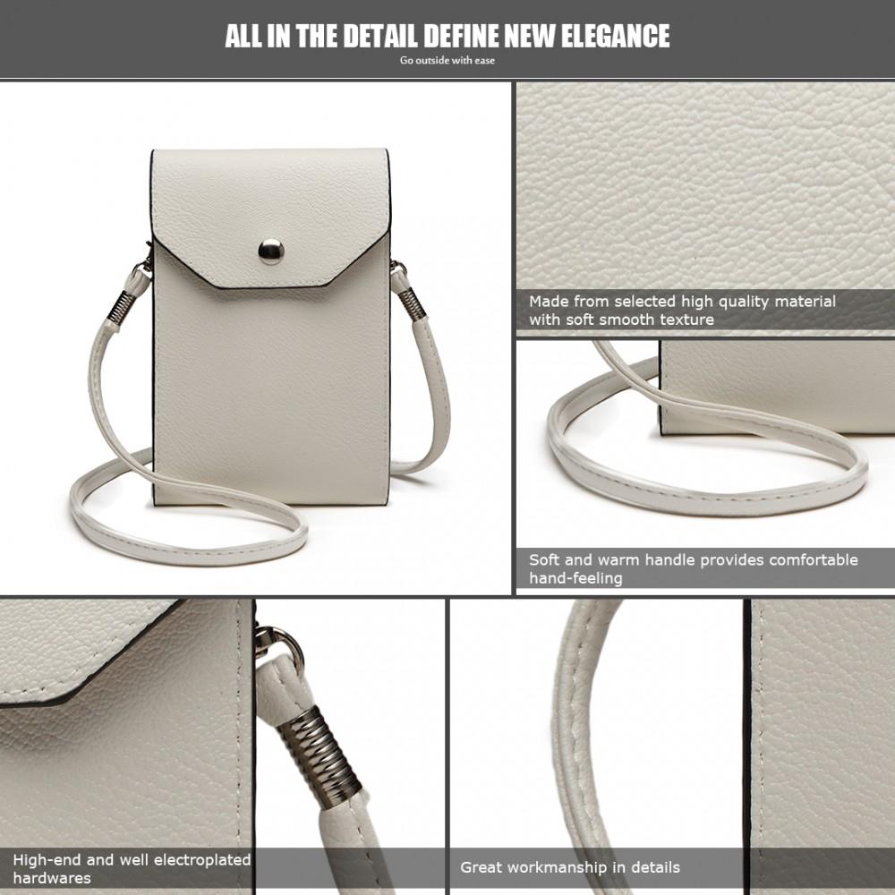 9a587127d8be8 E1806- Women PU Leather Slim Mobile Cross Body Bag white
