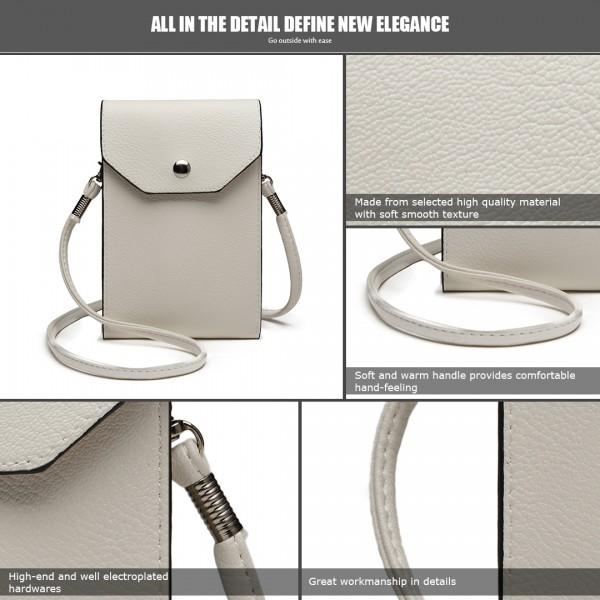 E1806-Mujeres PU Funda de la Bolsa de Teléfono Móvil de Cuero Bolsa Cross Body Purse Pequeño blanco