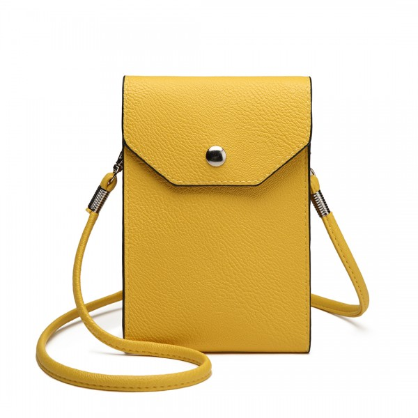 E1806- Women PU Leather Slim Mobile Cross Body Bag  yellow