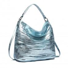 E1811-Miss LULU Fringed Stripes Hobo Tote Bag Blue