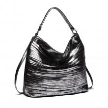 E1811-Miss LULU Fringed Stripes Hobo Tote Bag Black