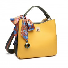 E1813- Miss Lulu Silk Scarf Decor Tote Handbag Yellow/Green
