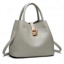 E1816- Miss Lulu Locked Bucket Hobo handbags Grey