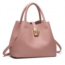 E1816 - Miss Lulu Locked Bucket Hobo handbags Pink