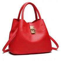 E1816- Miss Lulu Locked Bucket Hobo handbags Red