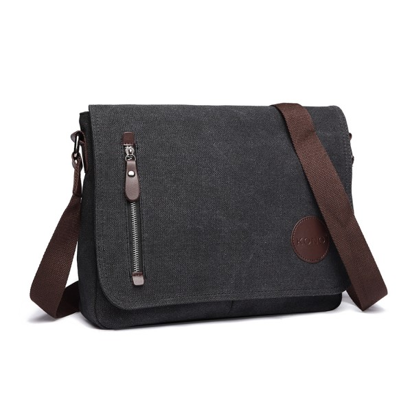 E1824-1 - Kono RFID-Blocking Retro Style Canvas Cross Body Messenger Bag - Black