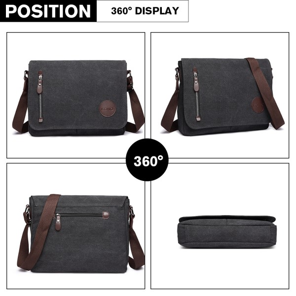 E1824-1 - Kono RFID-Blocking Retro Style Canvas Cross Body Messenger Bag - Black