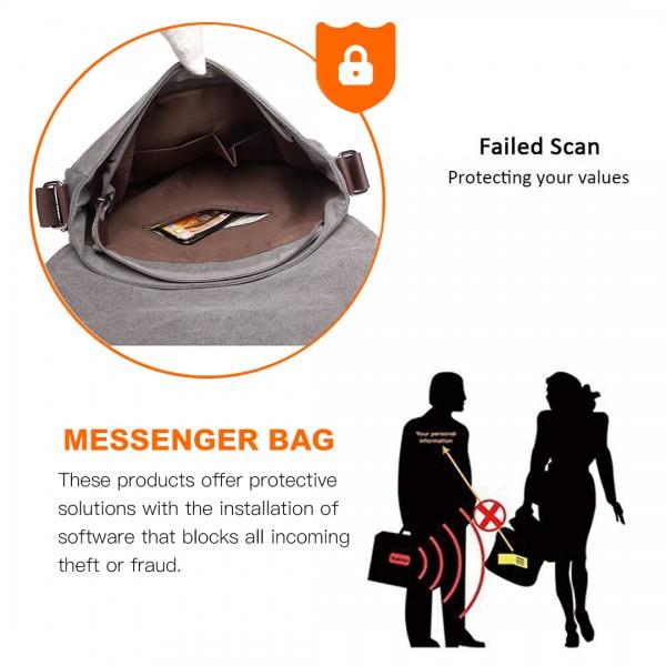 E1824-1 - Kono RFID-Blocking Retro Style Canvas Cross Body Messenger Bag - Grey