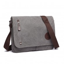 E1824-1 - Kono RFID-Blocking Retro Style Canvas Cross Body Messenger Bag - Grey