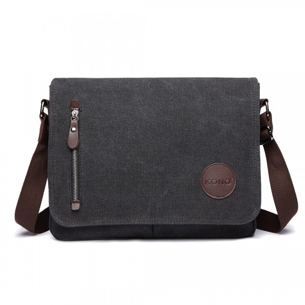 E1824- KONO Canvas Retro Crossbody Messenger Bag Black