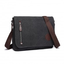 E1824 - KONO Canvas Retro Crossbody Messenger Bag - Black