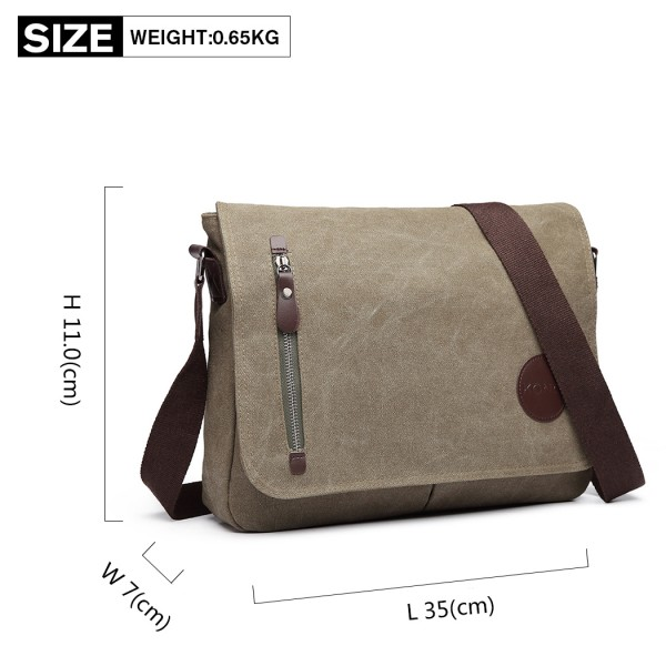 E1824- KONO Canvas Retro Crossbody Messenger Bag Green