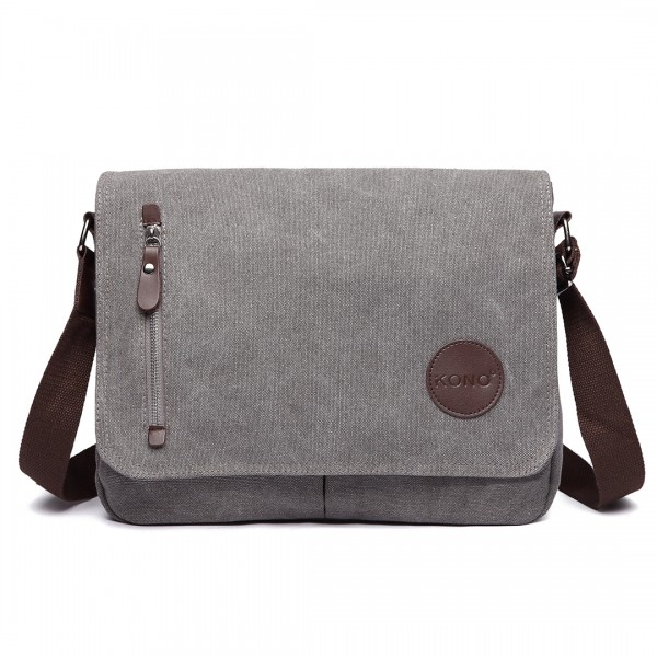 E1824- KONO Canvas Retro Crossbody Messenger Bag Grey