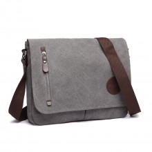 E1824 - KONO Canvas Retro Crossbody Messenger Bag - Grey