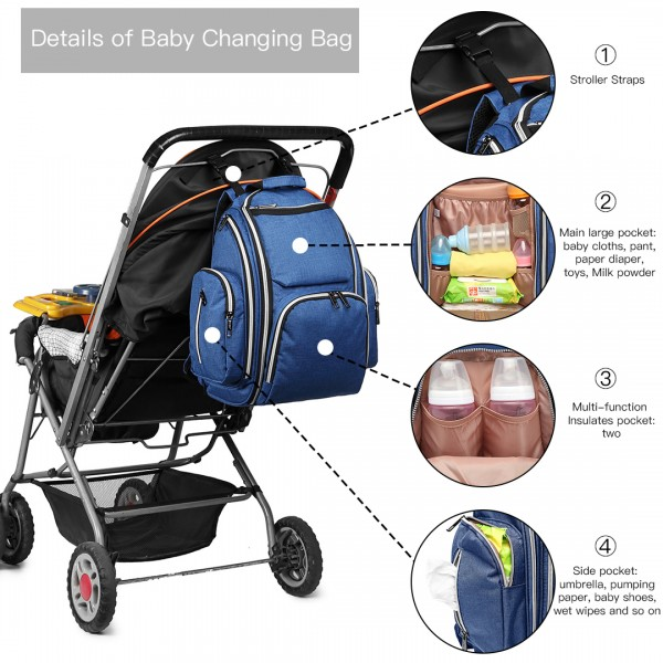 E1827-MISS LULU POLYESTER MULTI-FUNCTION BABY DIAPER BACKPACK BLUE