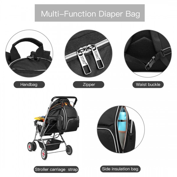 E1827-MISS LULU POLYESTER MULTI-FUNCTION BABY DIAPER BACKPACK BLACK