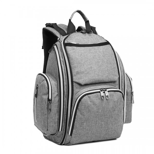 E1827-MISS LULU POLYESTER MULTI-FUNCTION BABY DIAPER BACKPACK GREY
