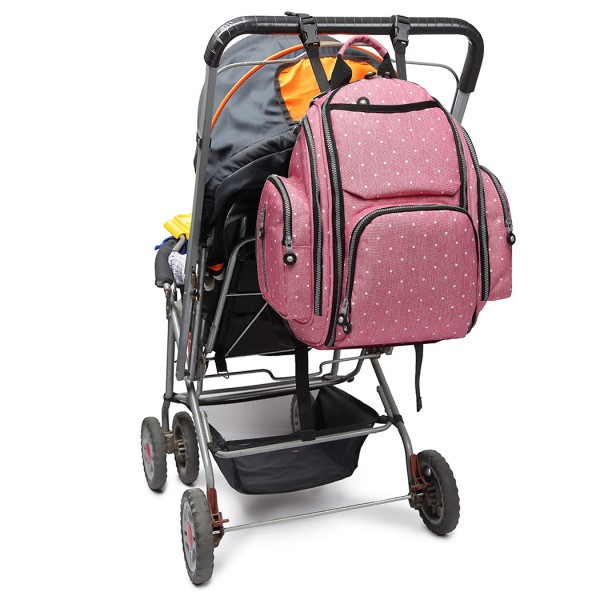 E1827D2-MISS LULU POLYESTER MULTI-FUNCTION BABY DIAPER BACKPACK DOT PINK