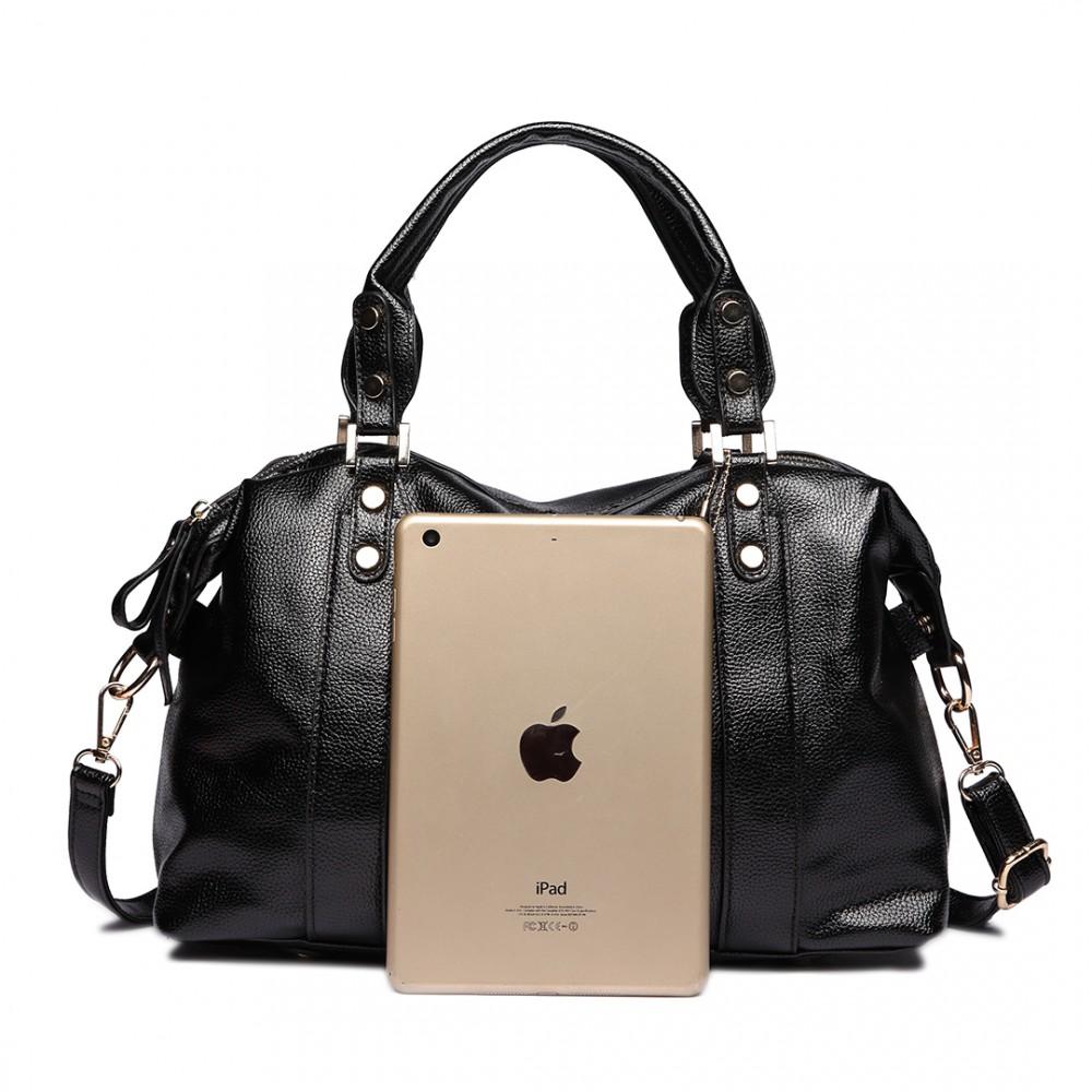 e1828 handtasche damen aktentasche klein pu leder shopper henkeltasche schultertasche schwarz. Black Bedroom Furniture Sets. Home Design Ideas