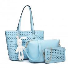 E1829-Miss Lulu Laser Cut 3pcs Handbag Set with Bunny Keyring Blue