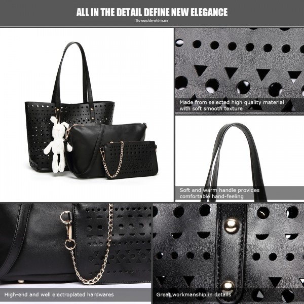 E1829-Miss Lulu Laser Cut 3pcs Handbag Set with Bunny Keyring Black