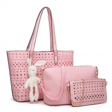 E1829-Miss Lulu Laser Cut 3pcs Handbag Set with Bunny Keyring  Pink