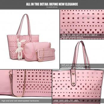 E1829-Miss Lulu Laser Cut 3pcs Handbag Set with Bunny Keyring  Pink