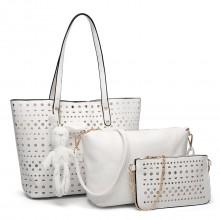 E1829-Miss Lulu Laser Cut 3pcs Handbag Set with Bunny Keyring White