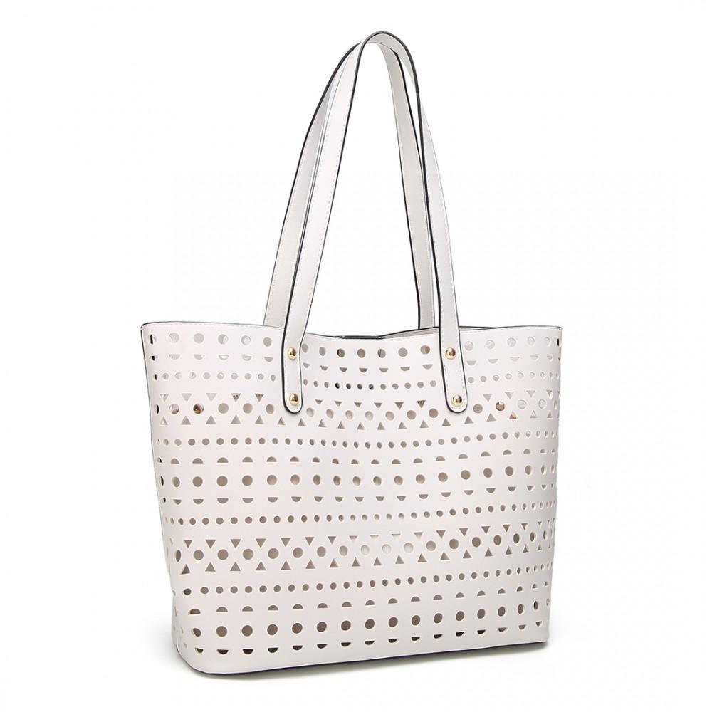67cb5d412 E1829-Miss Lulu Ladies 3 piezas bolso de mano PU cuero hueco Embrague láser  corte blanco