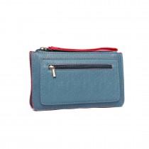 E1830 BE-Miss Lulu PU Leather Hand Clutch Purse Small Bag Blue