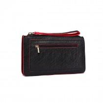 E1830 BK-Miss Lulu PU Leather Hand Clutch Purse Wallet Black