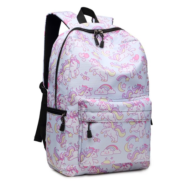 E1833-MISS LULU UNICORN PRINTED School BACKPACK LIGHT BLUE