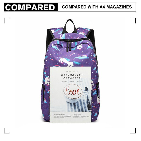E1833 - MISS LULU UNICORN PRINTED SCHOOL BACKPACK - PURPLE