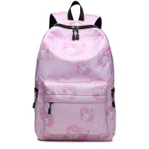 E1833-MISS LULU UNICORN PRINTED School BACKPACK PINK
