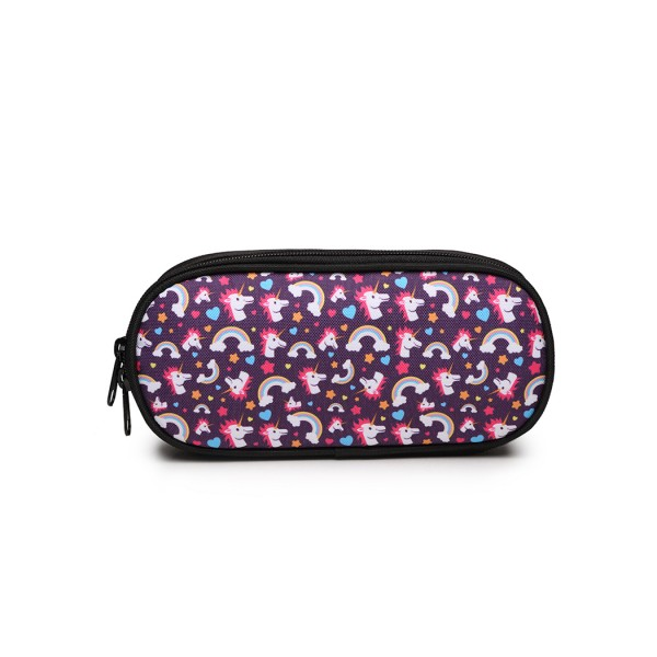 E1834 - MISS LULU UNICORN PRINTED PENCIL CASE - PURPLE