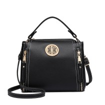 E1851 - MISS LULU LEATHER LOOK DUAL ZIPPED HANDBAG - BLACK