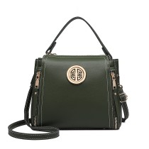 E1851 - MISS LULU LEATHER LOOK DUAL ZIPPED HANDBAG - GREEN