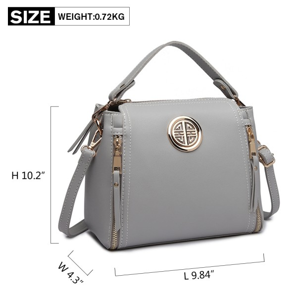 E1851 - MISS LULU LEATHER LOOK DUAL ZIPPED HANDBAG - GREY