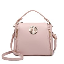 E1851 - MISS LULU LEATHER LOOK DUAL ZIPPED HANDBAG - PINK