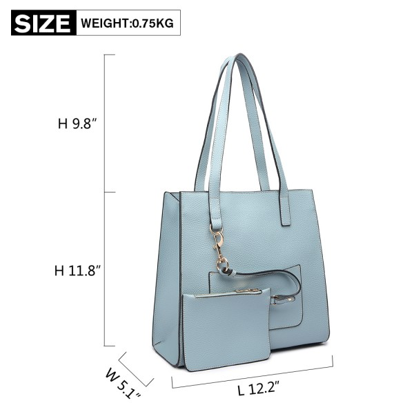 E1852 - MISS LULU LEATHER LOOK FRONT POCKET SHOULDER BAG WITH PURSE - BLUE