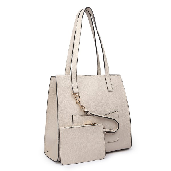 E1852 - MISS LULU LEATHER LOOK FRONT POCKET SHOULDER BAG WITH PURSE - BEIGE