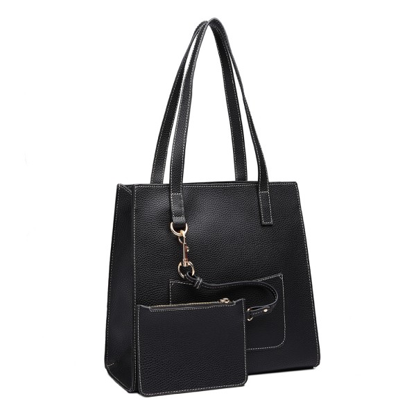 E1852 - MISS LULU LEATHER LOOK FRONT POCKET SHOULDER BAG WITH PURSE - BLACK