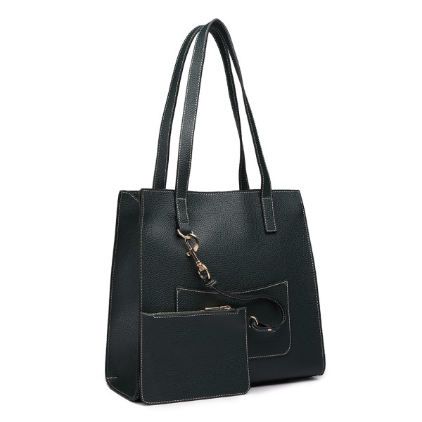 E1852 - MISS LULU LEATHER LOOK FRONT POCKET SHOULDER BAG WITH PURSE - GREEN