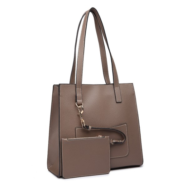 E1852 - MISS LULU LEATHER LOOK FRONT POCKET SHOULDER BAG WITH PURSE - GREY