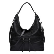 E1853 - MISS LULU MESH DETAIL LEATHER LOOK HOBO BAG - BLACK
